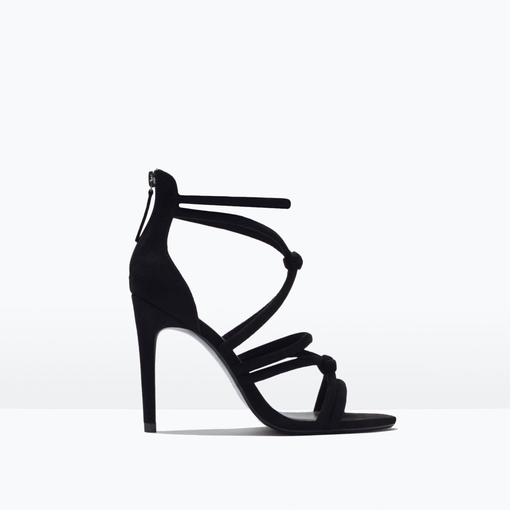 Knotted High Heel Sandals - predominant colour: black; occasions: evening, occasion; ankle detail: ankle strap; heel: stiletto; toe: open toe/peeptoe; style: strappy; finish: plain; pattern: plain; heel height: very high; material: faux suede; season: s/s 2015; wardrobe: event