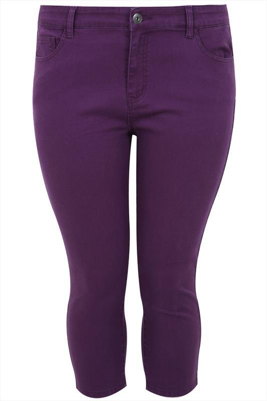 Purple Denim Crop Jean - style: skinny leg; pattern: plain; pocket detail: traditional 5 pocket; waist: mid/regular rise; predominant colour: purple; occasions: casual; length: calf length; fibres: cotton - stretch; texture group: denim; pattern type: fabric; season: s/s 2015; wardrobe: highlight