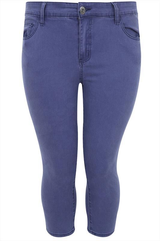 Blue Denim Cropped Jeans - style: skinny leg; pattern: plain; pocket detail: traditional 5 pocket; waist: mid/regular rise; predominant colour: denim; occasions: casual; length: calf length; fibres: cotton - stretch; texture group: denim; pattern type: fabric; season: s/s 2015