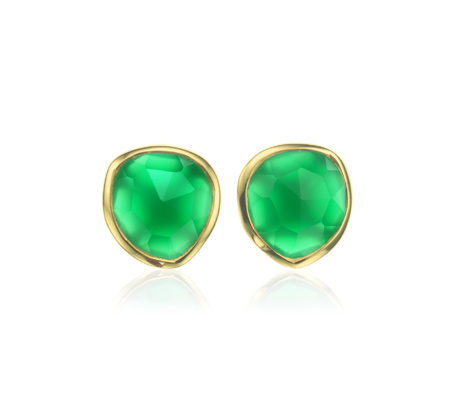 Gold Vermeil Siren Stud Earrings Green Onyx - predominant colour: emerald green; secondary colour: gold; occasions: evening, occasion; style: stud; length: short; size: standard; material: chain/metal; fastening: pierced; finish: metallic; embellishment: jewels/stone; season: s/s 2015; wardrobe: event