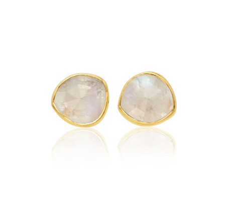 Siren Moonstone Stud Earrings, Gold Vermeil On Silver - predominant colour: gold; occasions: evening, occasion; style: stud; length: short; size: small/fine; material: chain/metal; fastening: pierced; finish: metallic; embellishment: jewels/stone; season: s/s 2015; wardrobe: event
