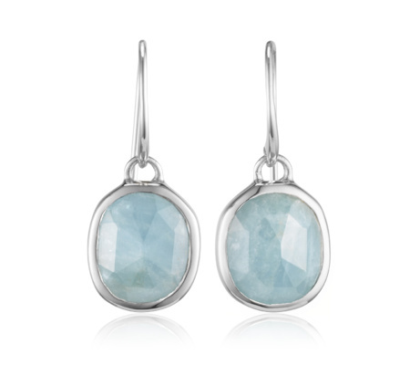 Siren Wire Earrings Aquamarine - predominant colour: pale blue; secondary colour: silver; occasions: casual, work; style: drop; length: mid; size: standard; material: chain/metal; fastening: pierced; finish: plain; embellishment: jewels/stone; season: s/s 2015; wardrobe: highlight