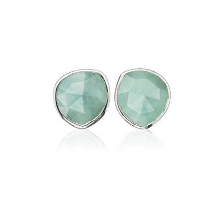 Siren Aquamarine Stud Earrings, Sterling Silver - predominant colour: pistachio; secondary colour: silver; occasions: evening, occasion; style: stud; length: short; size: small/fine; material: chain/metal; fastening: pierced; finish: metallic; embellishment: jewels/stone; season: s/s 2015; wardrobe: event