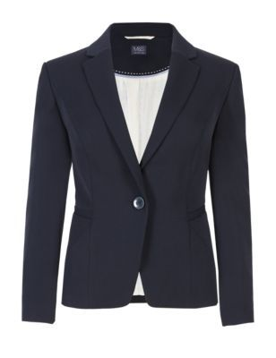 Welt Pocket Short Blazer With Buttonsafe™ - pattern: plain; style: single breasted blazer; collar: standard lapel/rever collar; predominant colour: navy; occasions: work; length: standard; fit: tailored/fitted; fibres: polyester/polyamide - stretch; sleeve length: long sleeve; sleeve style: standard; collar break: medium; pattern type: fabric; texture group: woven light midweight; season: s/s 2015; trends: softly structured; wardrobe: investment
