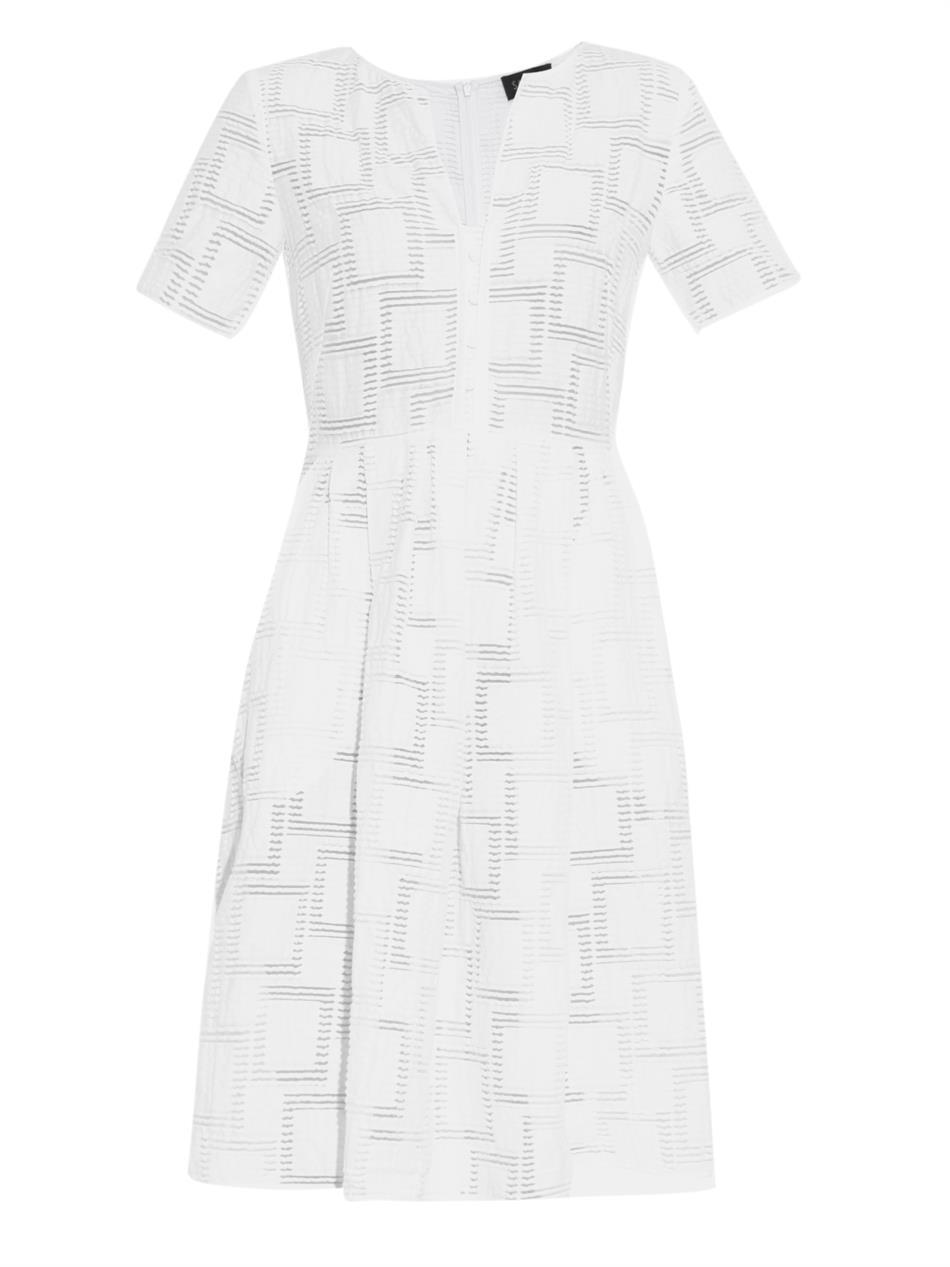 Jesse Checked Jacquard Dress - neckline: round neck; pattern: checked/gingham; predominant colour: white; occasions: evening, occasion; length: on the knee; fit: fitted at waist & bust; style: fit & flare; fibres: cotton - mix; sleeve length: short sleeve; sleeve style: standard; pattern type: fabric; texture group: brocade/jacquard; season: s/s 2015; wardrobe: event