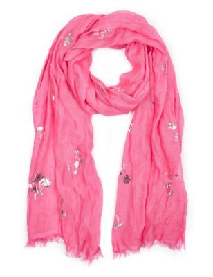 Tropical Foil Scarf With Modal - predominant colour: hot pink; occasions: casual, creative work; type of pattern: standard; style: regular; size: standard; material: fabric; pattern: plain; season: s/s 2015; wardrobe: highlight
