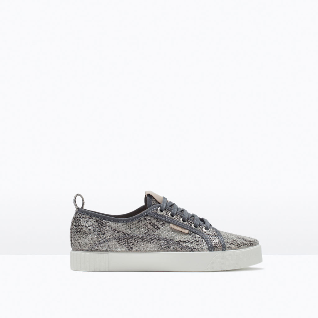 Printed Fabric Plimsoll - occasions: casual, creative work, activity; predominant colour: multicoloured; material: fabric; heel height: flat; toe: round toe; style: trainers; finish: plain; pattern: animal print; shoe detail: platform; season: s/s 2015; multicoloured: multicoloured
