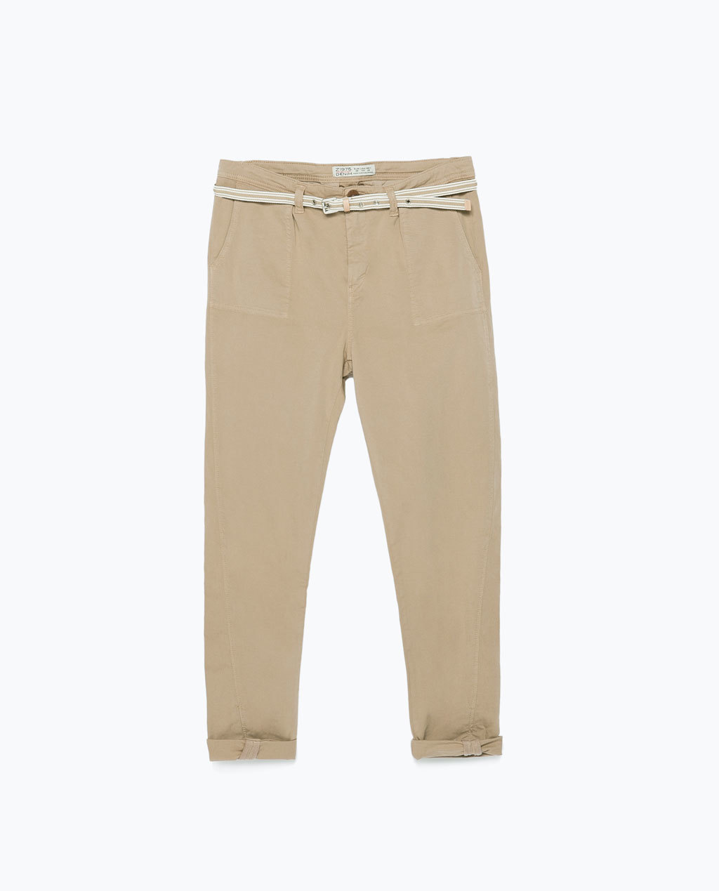 Topstitched Chinos - pattern: plain; pocket detail: small back pockets, pockets at the sides; waist detail: belted waist/tie at waist/drawstring; waist: mid/regular rise; predominant colour: stone; occasions: casual; length: ankle length; style: chino; fibres: cotton - mix; texture group: cotton feel fabrics; fit: tapered; season: s/s 2015