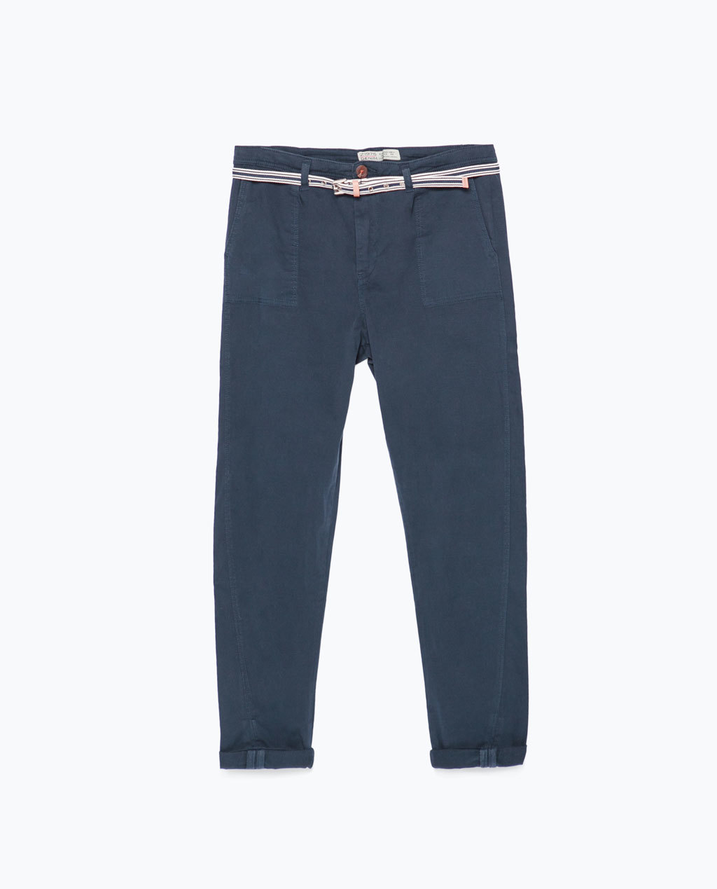 Topstitched Chinos - length: standard; pattern: plain; pocket detail: small back pockets, pockets at the sides; waist: mid/regular rise; predominant colour: navy; occasions: casual; style: chino; fibres: cotton - stretch; texture group: cotton feel fabrics; fit: slim leg; pattern type: fabric; season: s/s 2015; wardrobe: basic
