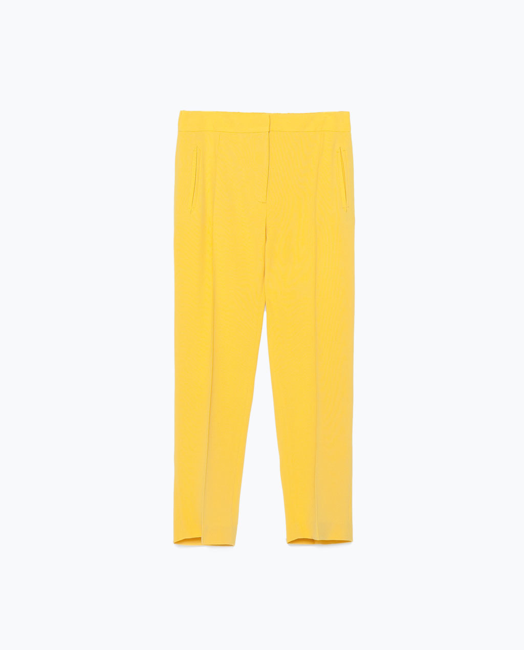 Trousers With Elastic Waist - length: standard; pattern: plain; waist: mid/regular rise; predominant colour: yellow; occasions: casual, creative work; fit: slim leg; pattern type: fabric; texture group: woven light midweight; style: standard; season: s/s 2015; wardrobe: highlight