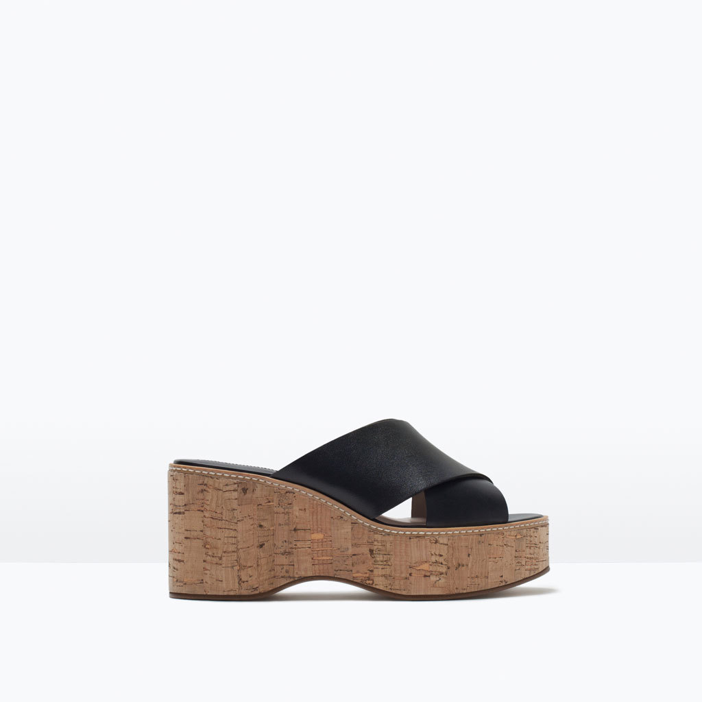 Crossover Leather Wedges - predominant colour: black; occasions: casual, holiday; material: leather; heel height: high; heel: block; toe: open toe/peeptoe; style: strappy; finish: plain; pattern: plain; shoe detail: platform; season: s/s 2015