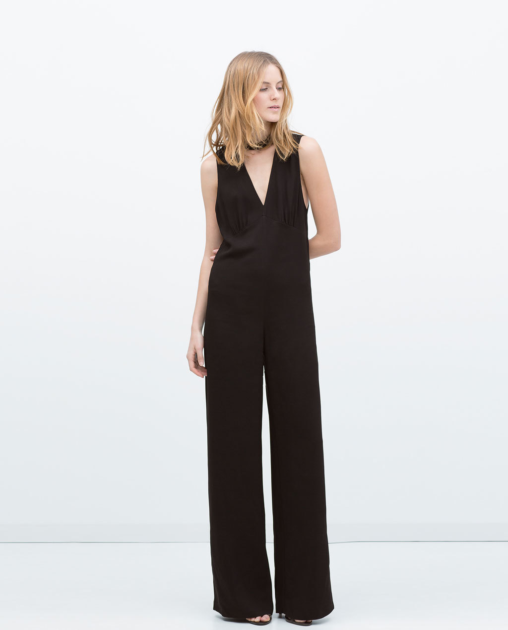 High Neck Collar Jumpsuit - length: standard; neckline: low v-neck; pattern: plain; sleeve style: sleeveless; predominant colour: black; occasions: evening; fit: body skimming; fibres: viscose/rayon - stretch; sleeve length: sleeveless; style: jumpsuit; texture group: woven light midweight; season: s/s 2015; wardrobe: event