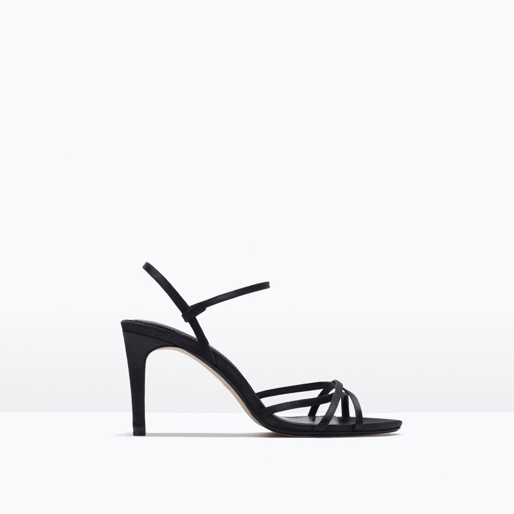High Heel Strappy Sandal - predominant colour: black; occasions: evening, occasion; material: faux leather; heel height: high; heel: standard; toe: open toe/peeptoe; style: strappy; finish: plain; pattern: plain; season: s/s 2015; wardrobe: event
