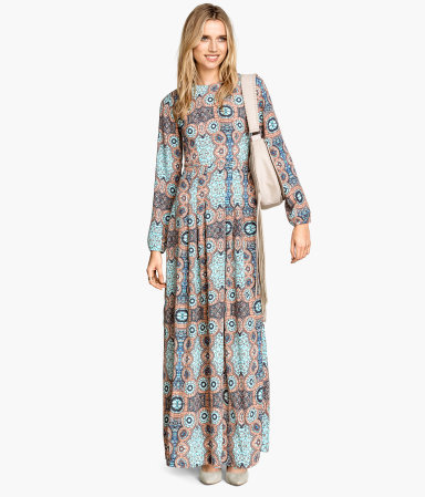 Long Dress - style: maxi dress; secondary colour: pale blue; predominant colour: nude; occasions: casual; length: floor length; fit: body skimming; fibres: viscose/rayon - 100%; neckline: crew; sleeve length: long sleeve; sleeve style: standard; pattern type: fabric; pattern: patterned/print; texture group: woven light midweight; season: s/s 2015; wardrobe: highlight