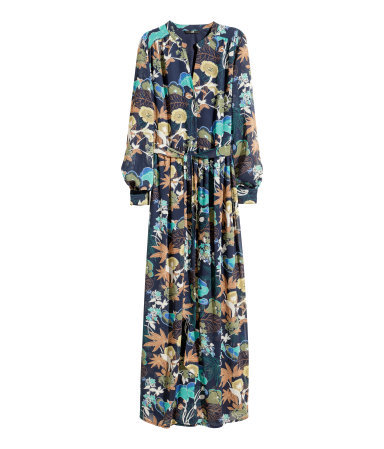 Long Chiffon Dress - neckline: v-neck; style: maxi dress; waist detail: belted waist/tie at waist/drawstring; predominant colour: navy; secondary colour: turquoise; occasions: casual, evening; length: floor length; fit: body skimming; fibres: polyester/polyamide - 100%; sleeve length: long sleeve; sleeve style: standard; texture group: sheer fabrics/chiffon/organza etc.; pattern type: fabric; pattern: patterned/print; season: s/s 2015; wardrobe: highlight