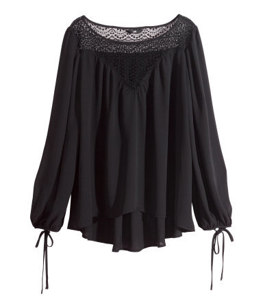 Wide Blouse - neckline: round neck; pattern: plain; length: below the bottom; sleeve style: balloon; style: blouse; predominant colour: black; occasions: casual, evening; fibres: polyester/polyamide - 100%; fit: loose; sleeve length: long sleeve; texture group: sheer fabrics/chiffon/organza etc.; pattern type: fabric; season: s/s 2015; wardrobe: basic