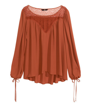 Wide Blouse - pattern: plain; length: below the bottom; sleeve style: balloon; style: blouse; predominant colour: terracotta; occasions: casual; neckline: scoop; fibres: polyester/polyamide - 100%; fit: loose; sleeve length: long sleeve; texture group: sheer fabrics/chiffon/organza etc.; pattern type: fabric; season: s/s 2015; wardrobe: highlight; embellishment: contrast fabric; embellishment location: bust