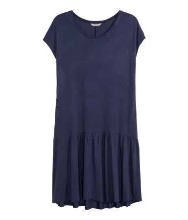 + Dress With Gathers - style: t-shirt; neckline: round neck; fit: loose; pattern: plain; predominant colour: navy; occasions: casual, creative work; length: just above the knee; fibres: viscose/rayon - 100%; sleeve length: short sleeve; sleeve style: standard; pattern type: fabric; texture group: jersey - stretchy/drapey; season: s/s 2015; wardrobe: basic