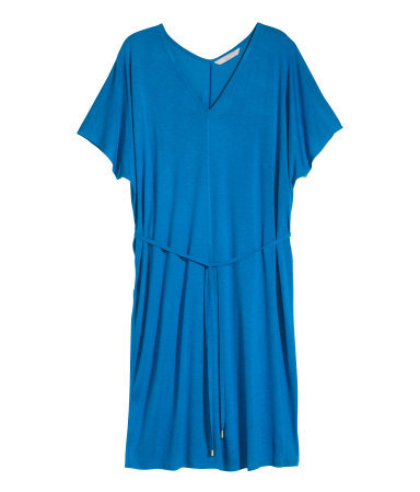 + Jersey Dress - style: t-shirt; length: mid thigh; neckline: v-neck; fit: loose; pattern: plain; waist detail: belted waist/tie at waist/drawstring; predominant colour: diva blue; occasions: casual, creative work; fibres: viscose/rayon - 100%; sleeve length: short sleeve; sleeve style: standard; pattern type: fabric; texture group: jersey - stretchy/drapey; season: s/s 2015; wardrobe: highlight