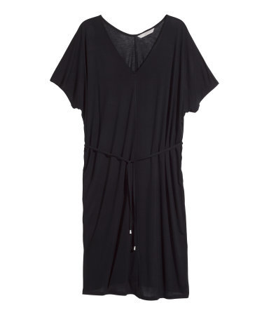 + Jersey Dress - style: t-shirt; length: mid thigh; neckline: low v-neck; sleeve style: dolman/batwing; fit: loose; pattern: plain; waist detail: belted waist/tie at waist/drawstring; predominant colour: black; occasions: casual, creative work; sleeve length: short sleeve; pattern type: fabric; texture group: jersey - stretchy/drapey; season: s/s 2015