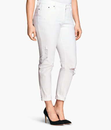 + Girlfriend Jeans - style: boyfriend; pattern: plain; pocket detail: traditional 5 pocket; waist: mid/regular rise; predominant colour: white; occasions: casual; length: ankle length; fibres: cotton - stretch; texture group: denim; pattern type: fabric; jeans detail: rips; season: s/s 2015; wardrobe: highlight