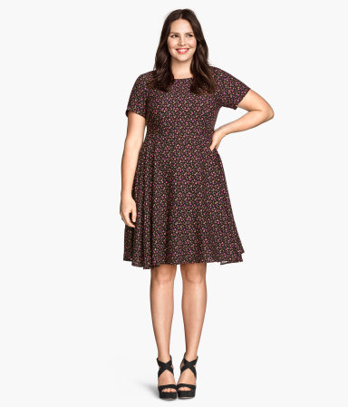 + Patterned Dress - predominant colour: pink; secondary colour: black; occasions: casual; length: just above the knee; fit: fitted at waist & bust; style: fit & flare; fibres: viscose/rayon - 100%; neckline: crew; sleeve length: short sleeve; sleeve style: standard; pattern type: fabric; pattern: patterned/print; texture group: other - light to midweight; season: s/s 2015; wardrobe: highlight