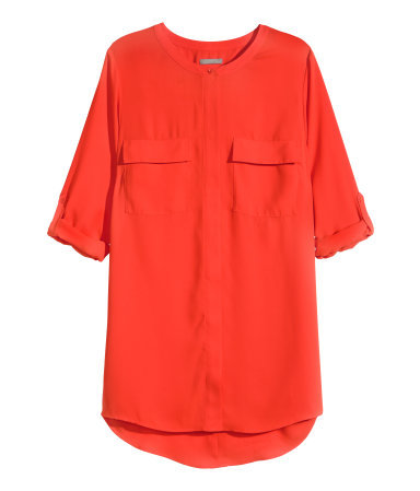 + Tunic - neckline: round neck; pattern: plain; length: below the bottom; style: tunic; bust detail: pocket detail at bust; predominant colour: true red; occasions: casual, creative work; fit: body skimming; sleeve length: half sleeve; sleeve style: standard; texture group: crepes; pattern type: fabric; season: s/s 2015; wardrobe: highlight
