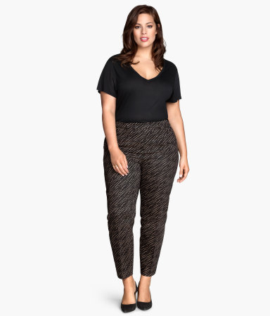 + Slacks - waist: mid/regular rise; predominant colour: silver; secondary colour: black; occasions: casual, creative work; length: ankle length; fibres: cotton - stretch; fit: slim leg; pattern type: fabric; pattern: patterned/print; texture group: woven light midweight; style: standard; season: s/s 2015