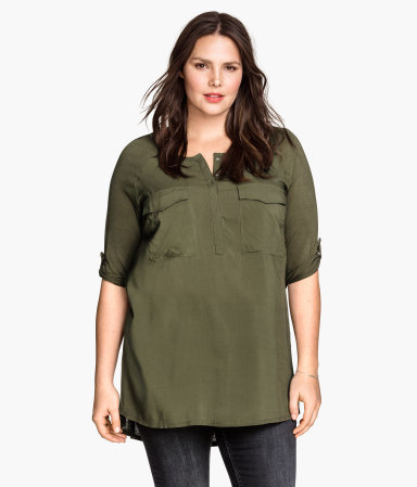 + Tunic - neckline: round neck; pattern: plain; length: below the bottom; style: tunic; predominant colour: khaki; occasions: casual, creative work; fibres: viscose/rayon - 100%; fit: straight cut; sleeve length: half sleeve; sleeve style: standard; pattern type: fabric; texture group: woven light midweight; season: s/s 2015; wardrobe: basic