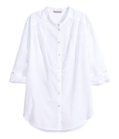 + Cotton Blouse - pattern: plain; style: blouse; predominant colour: white; occasions: casual, creative work; length: standard; neckline: collarstand; fibres: cotton - 100%; fit: straight cut; sleeve length: 3/4 length; sleeve style: standard; texture group: cotton feel fabrics; season: s/s 2015; wardrobe: basic