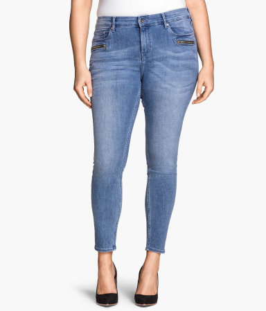 + Skinny Ankle Jeans - style: skinny leg; length: standard; pattern: plain; waist: high rise; pocket detail: traditional 5 pocket; predominant colour: denim; occasions: casual; fibres: cotton - stretch; jeans detail: whiskering, washed/faded; texture group: denim; pattern type: fabric; season: s/s 2015; wardrobe: basic