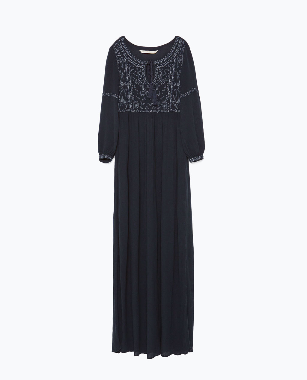 Embroidered Long Dress - fit: loose; style: maxi dress; length: ankle length; neckline: asymmetric; predominant colour: black; occasions: casual, evening; fibres: viscose/rayon - 100%; sleeve length: long sleeve; sleeve style: standard; pattern type: fabric; pattern: patterned/print; texture group: woven light midweight; embellishment: embroidered; season: s/s 2015; wardrobe: highlight; embellishment location: bust
