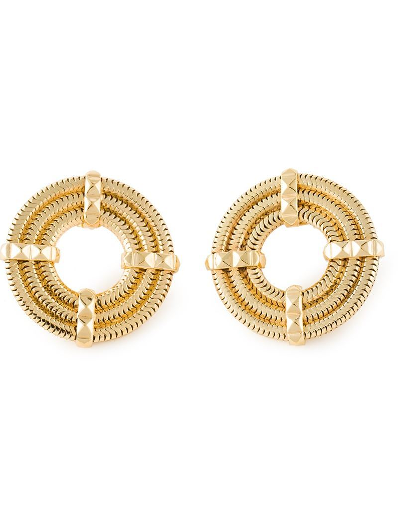 'apollo' Earrings, Women's, Metallic - predominant colour: gold; occasions: casual, evening, occasion, creative work; style: stud; length: short; size: small/fine; material: chain/metal; fastening: pierced; finish: metallic; season: s/s 2015