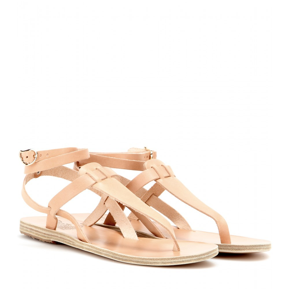 Estia Leather Sandals - predominant colour: nude; occasions: casual, holiday; material: leather; heel height: flat; ankle detail: ankle strap; heel: standard; toe: toe thongs; style: standard; finish: plain; pattern: plain; season: s/s 2015; wardrobe: basic