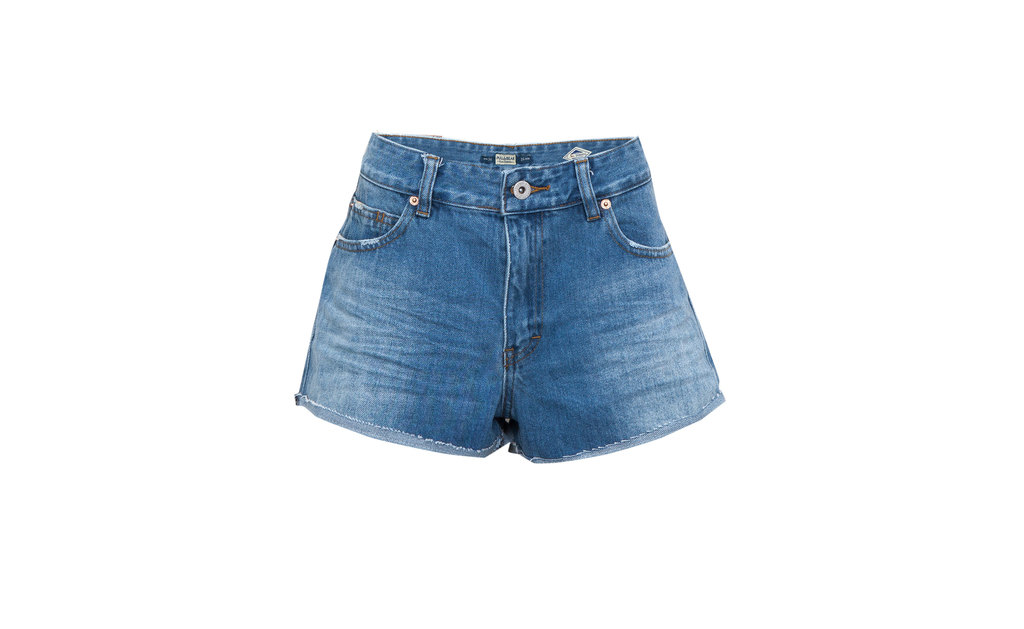 Denim Shorts - pattern: plain; waist: high rise; pocket detail: traditional 5 pocket; predominant colour: denim; occasions: casual, holiday; fibres: cotton - stretch; texture group: denim; pattern type: fabric; season: s/s 2015; style: denim; length: short shorts; fit: standard