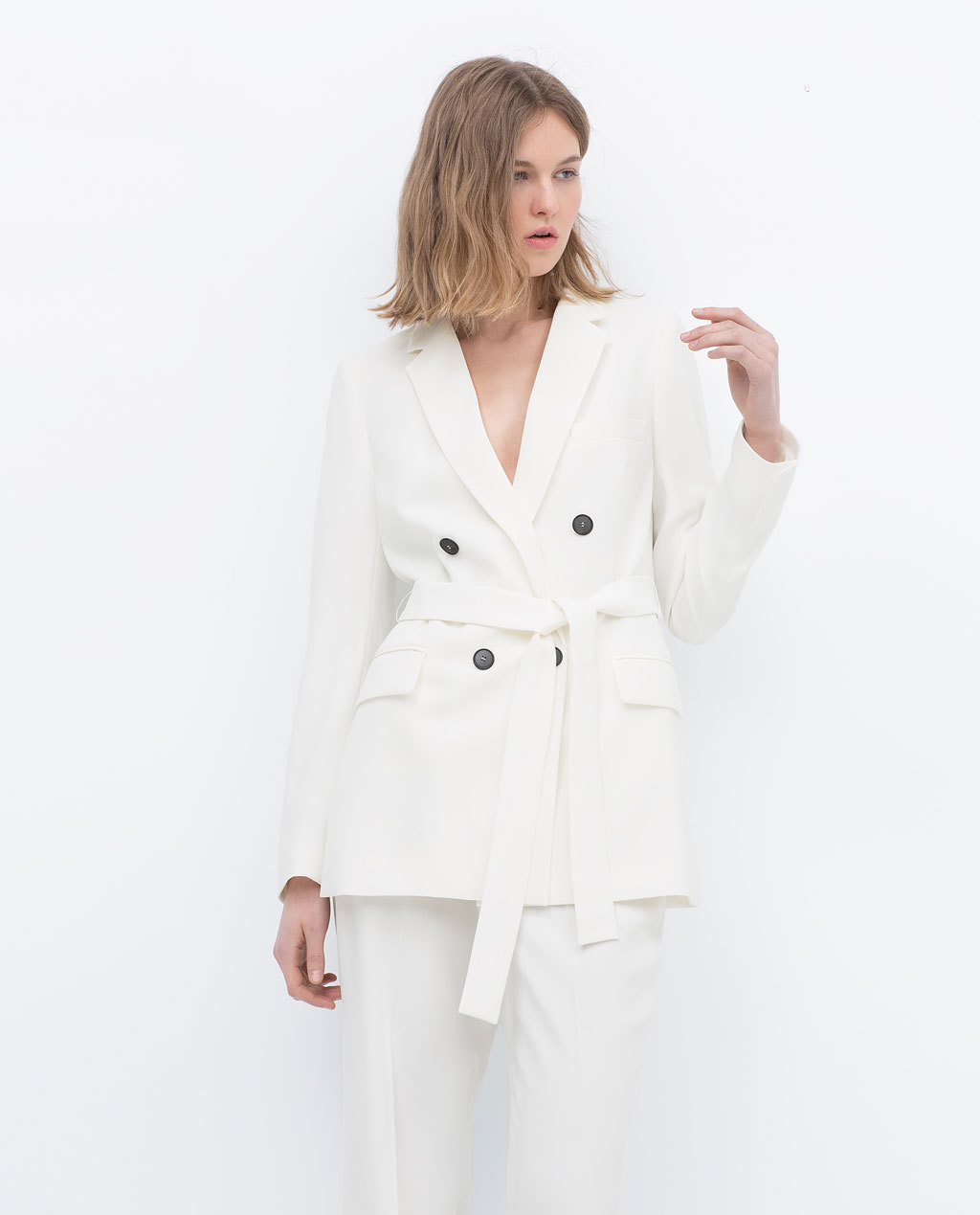 Belted Blazer - pattern: plain; style: belted jacket; length: below the bottom; collar: standard lapel/rever collar; predominant colour: white; occasions: casual, creative work; fit: tailored/fitted; fibres: polyester/polyamide - 100%; waist detail: belted waist/tie at waist/drawstring; sleeve length: long sleeve; sleeve style: standard; texture group: cotton feel fabrics; collar break: medium; pattern type: fabric; season: s/s 2015; wardrobe: basic