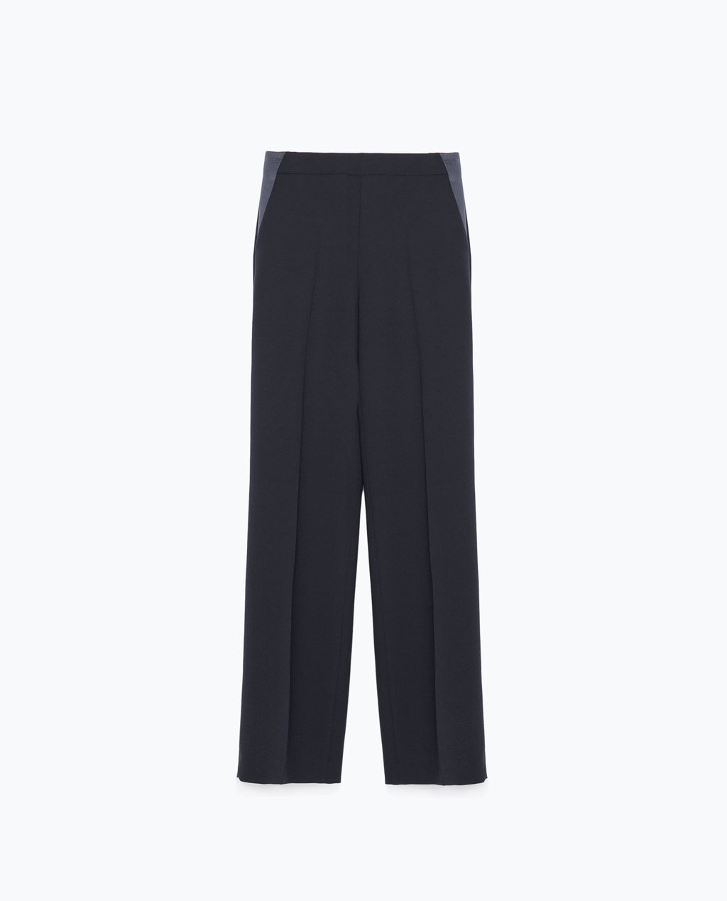 Crepe Drapey Wide Trousers - length: standard; pattern: plain; waist: mid/regular rise; predominant colour: navy; occasions: evening, work, creative work; fibres: polyester/polyamide - 100%; texture group: crepes; fit: wide leg; pattern type: fabric; style: standard; season: s/s 2015; wardrobe: basic