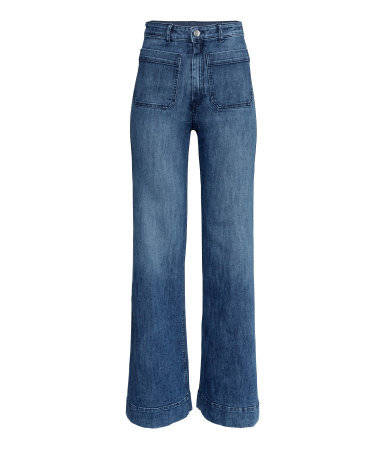 Wide Jeans - length: standard; pattern: plain; waist: high rise; style: wide leg; predominant colour: denim; occasions: casual; fibres: cotton - 100%; jeans detail: shading down centre of thigh; texture group: denim; pattern type: fabric; trends: seventies retro; season: s/s 2015