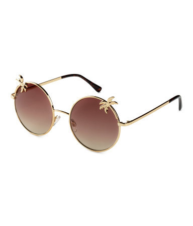 Sunglasses - predominant colour: chocolate brown; occasions: casual, holiday; style: round; size: standard; material: chain/metal; pattern: plain; finish: metallic; season: s/s 2015; wardrobe: basic