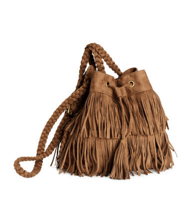 Fringed Shoulder Bag - predominant colour: tan; occasions: casual, creative work; style: shoulder; length: shoulder (tucks under arm); size: standard; material: suede; embellishment: fringing; pattern: plain; finish: plain; season: s/s 2015; wardrobe: highlight