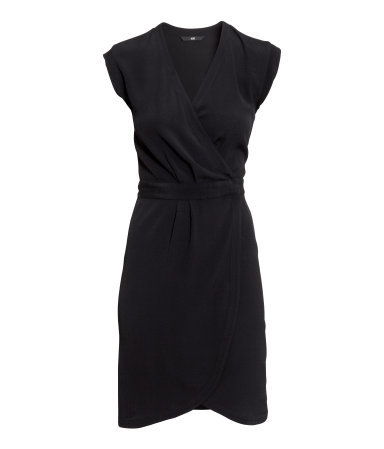 Crêped Wrap Dress - style: faux wrap/wrap; length: mid thigh; neckline: low v-neck; sleeve style: capped; fit: tailored/fitted; pattern: plain; predominant colour: black; occasions: evening, creative work; fibres: viscose/rayon - 100%; sleeve length: short sleeve; texture group: crepes; pattern type: fabric; season: s/s 2015; wardrobe: investment