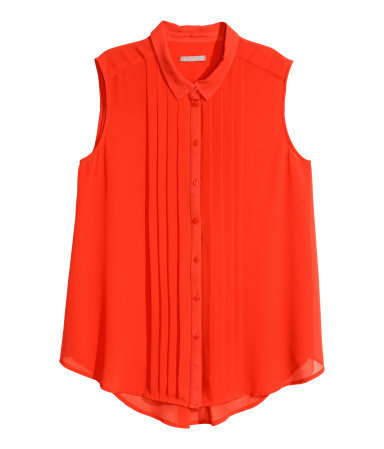 + Sleeveless Blouse - neckline: shirt collar/peter pan/zip with opening; pattern: plain; sleeve style: sleeveless; style: shirt; bust detail: ruching/gathering/draping/layers/pintuck pleats at bust; predominant colour: true red; occasions: casual, creative work; length: standard; fibres: polyester/polyamide - 100%; fit: loose; sleeve length: sleeveless; texture group: sheer fabrics/chiffon/organza etc.; pattern type: fabric; season: s/s 2015
