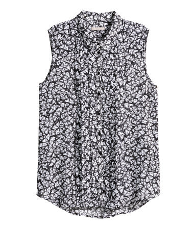 + Sleeveless Blouse - neckline: shirt collar/peter pan/zip with opening; sleeve style: sleeveless; style: shirt; secondary colour: white; predominant colour: black; occasions: casual, creative work; length: standard; fibres: polyester/polyamide - 100%; fit: straight cut; sleeve length: sleeveless; pattern type: fabric; pattern: patterned/print; texture group: other - light to midweight; season: s/s 2015; wardrobe: highlight