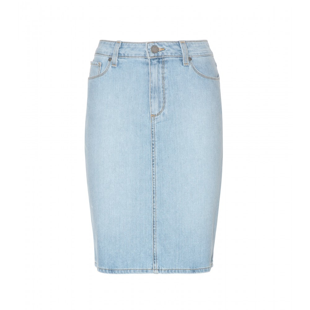 Deirdre Denim Skirt - pattern: plain; style: pencil; fit: body skimming; waist: high rise; predominant colour: pale blue; occasions: casual, creative work; length: on the knee; fibres: cotton - stretch; texture group: denim; pattern type: fabric; season: s/s 2015; wardrobe: basic