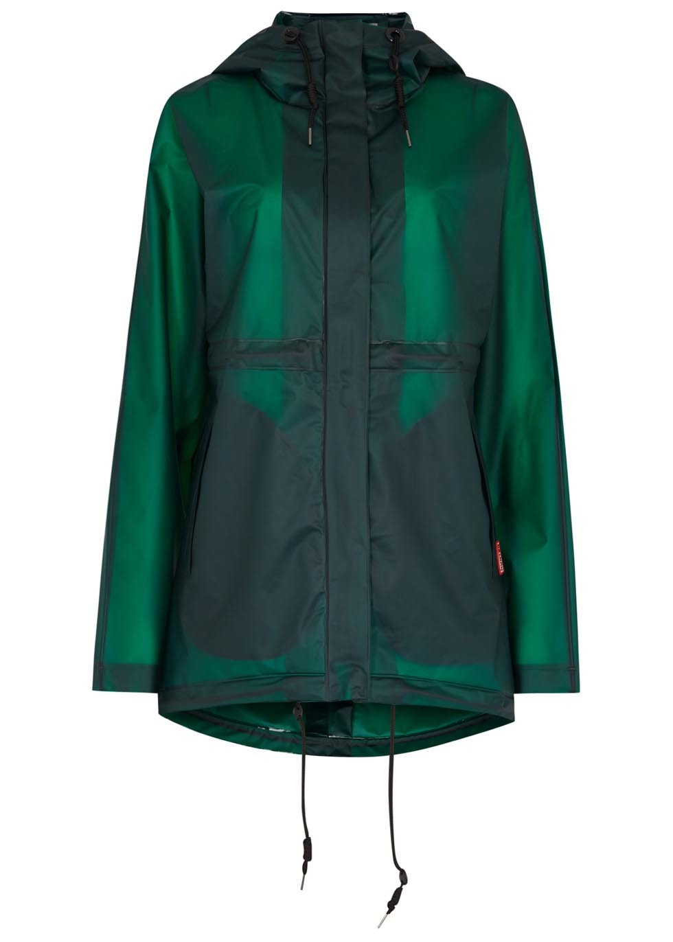 Original Clear Green Rubber Jacket - pattern: plain; length: below the bottom; collar: funnel; style: mac; predominant colour: emerald green; occasions: casual; fit: straight cut (boxy); sleeve length: long sleeve; sleeve style: standard; texture group: technical outdoor fabrics; collar break: high; pattern type: fabric; season: s/s 2015; wardrobe: highlight