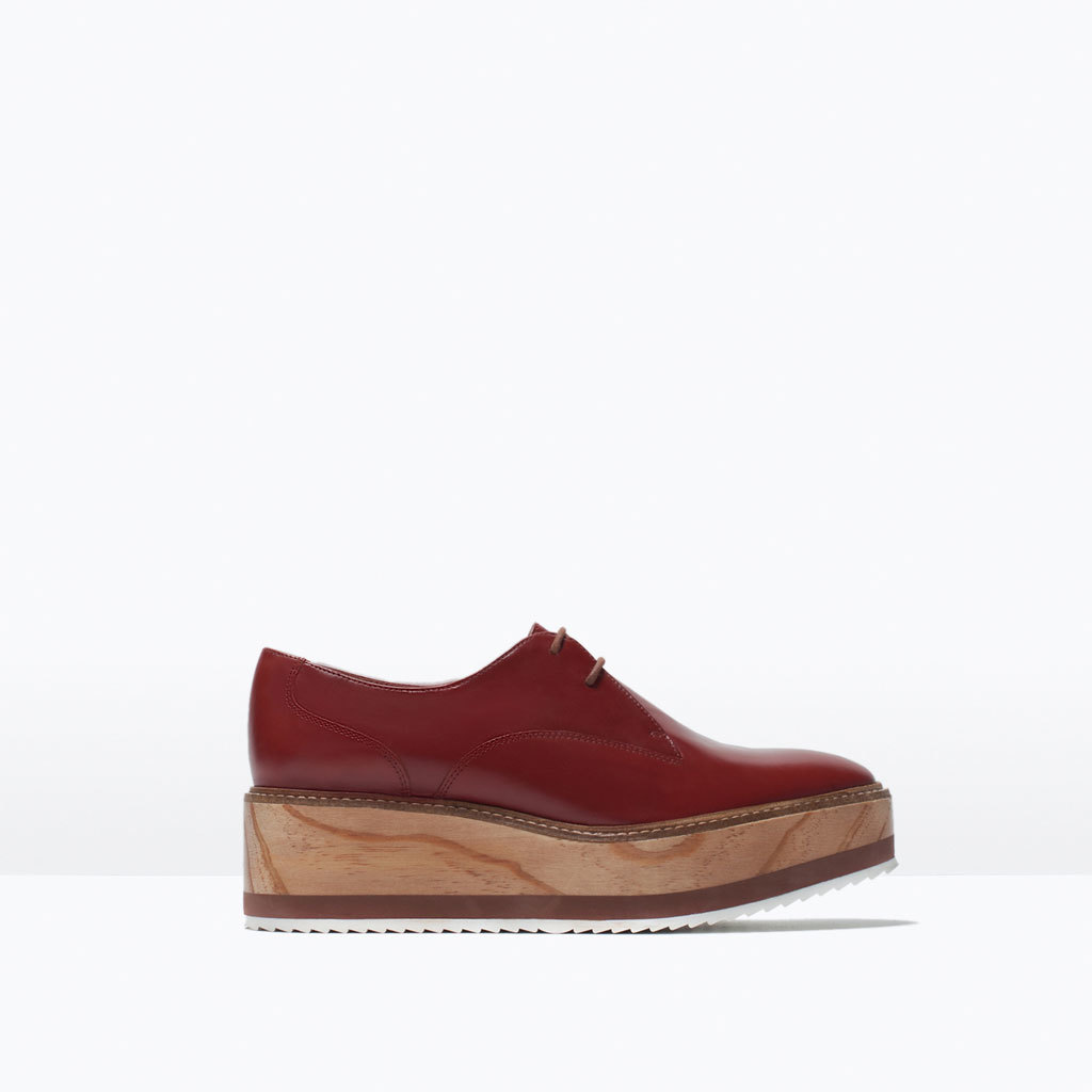 Wooden Sole Leather Bluchers - predominant colour: burgundy; occasions: casual, creative work; material: leather; heel height: flat; toe: round toe; finish: plain; pattern: plain; shoe detail: platform; style: lace ups; season: s/s 2015; wardrobe: highlight