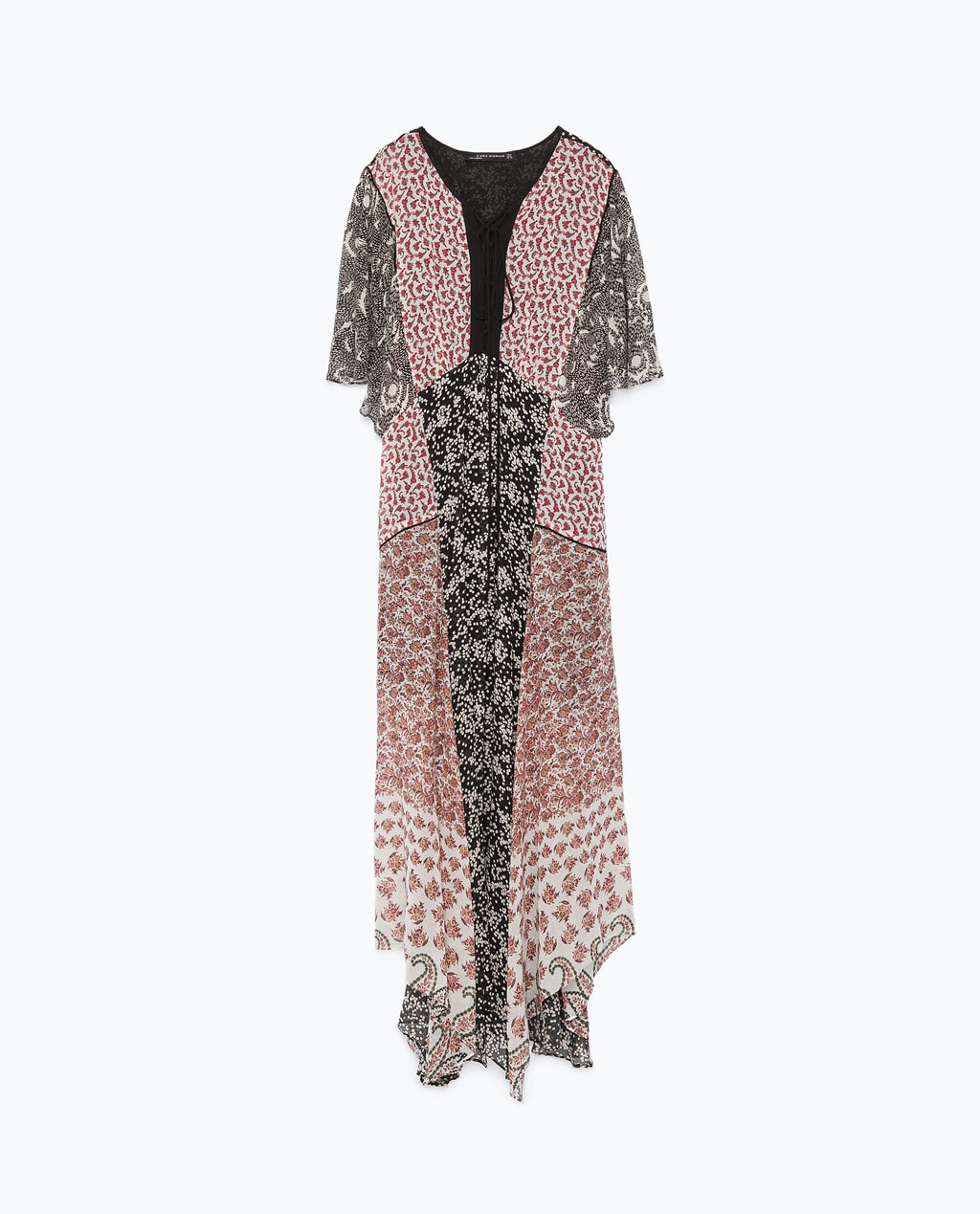 Printed Dress - neckline: v-neck; sleeve style: angel/waterfall; fit: loose; style: maxi dress; length: ankle length; occasions: casual; fibres: polyester/polyamide - 100%; predominant colour: multicoloured; sleeve length: short sleeve; texture group: sheer fabrics/chiffon/organza etc.; pattern type: fabric; pattern size: big & busy; pattern: florals; season: s/s 2015; multicoloured: multicoloured