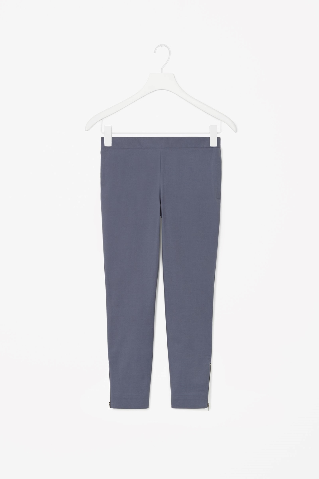 Zip Cuff Cotton Trousers - pattern: plain; style: leggings; waist: mid/regular rise; predominant colour: charcoal; occasions: casual, creative work; length: ankle length; fibres: cotton - stretch; waist detail: feature waist detail; fit: skinny/tight leg; pattern type: fabric; texture group: woven light midweight; season: s/s 2015; wardrobe: basic