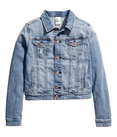 Denim Jacket - pattern: plain; style: denim; predominant colour: denim; occasions: casual, creative work; length: standard; fit: straight cut (boxy); fibres: cotton - 100%; collar: shirt collar/peter pan/zip with opening; sleeve length: long sleeve; sleeve style: standard; texture group: denim; collar break: high/illusion of break when open; pattern type: fabric; season: s/s 2015; wardrobe: basic