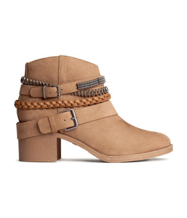 Ankle Boots - predominant colour: camel; occasions: casual, creative work; material: faux leather; heel height: mid; heel: block; toe: round toe; boot length: ankle boot; style: standard; finish: plain; pattern: plain; embellishment: chain/metal; season: s/s 2015; wardrobe: highlight